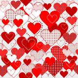 Seamless with dotted and plain hearts Royalty Free Stock Images