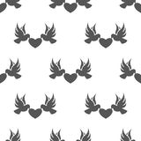 Seamless dove with heart pattern. Love symbol from icon collection. Vector illustration on white background. Simple graphic design. Can be used in web and Royalty Free Stock Image