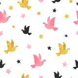 Seamless dove pattern. Romantic vector background. Seamless dove pattern. Romantic vector background with pink and golden birds royalty free illustration