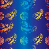 Seamless dragon-bird pattern. Seamless chinese dragon-bird pattern on blue background (from my ethnic pattern collection stock illustration