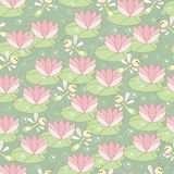 Seamless with dragonflies and lotus Stock Photos