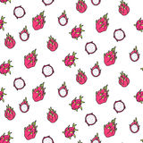Seamless dragonfruit pattern. Including sample in swatch panel ai Stock Images