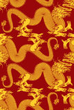 Seamless Dragons. Seamless dragon pattern. Artwork inspired with traditional Chinese and Japanese dragon arts stock illustration