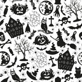 Seamless drawing icons for Halloween Stock Photos