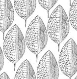 Seamless drawing pattern with decorative leaves. Vector line art. Royalty Free Stock Photo