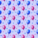 Seamless drawn pattern. Watercolor background with hand drawn air ballons. Series of Watercolor Seamless Patterns, Backgrounds Royalty Free Stock Images