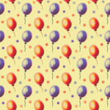 Seamless drawn pattern. Watercolor background with hand drawn air ballons. Series of Watercolor Seamless Patterns, Backgrounds Royalty Free Stock Photo