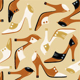 Seamless dress shoes pattern. Abstract elegant high-heeled ladies shoes repeat pattern (print, swatch, repeatable tile, seamless wallpaper or background Stock Image