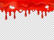 Seamless dripping blood. Halloween red bleed stain, bleeding bloody drips or ketchup drip drop realistic 3D vector. Seamless dripping blood. Halloween red bleed stock illustration