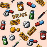 Seamless drugs, pills handdrawn pattern with - box Stock Image
