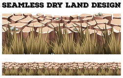 Seamless dry land with grass Stock Photography