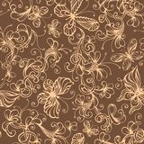 Seamless duotone floral background. Ornate flowers and butterflies. Vector illustration Stock Photography