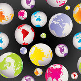 Seamless with Earth globes Royalty Free Stock Photos