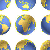 Seamless Earth globes vector pattern Stock Photography