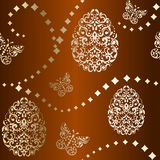 Seamless Easter background in brown and gold Stock Photography