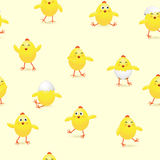 Seamless Easter background with chicks Stock Photo