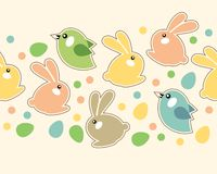 Seamless easter border with rabbits Stock Photo