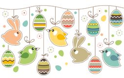 Seamless easter border with rabbits royalty free stock image