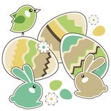 Seamless easter border with rabbits Royalty Free Stock Images
