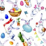 Seamless easter bunnies pattern. Watercolor illustration on white background. Pattern with cartoon bannies, eggs, carrots, candy. Seamless easter bunnies pattern royalty free illustration
