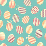 Seamless easter egg spring blue bunny pattern Stock Photos