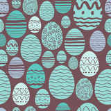 Seamless easter eggs pattern in mint and brown. Stock Images