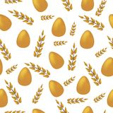 Seamless Easter holiday pattern, eggs  with plants golden Stock Image