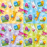 Seamless easter pattern. Seamless spring pattern with easter eggs and rabbits Stock Photography