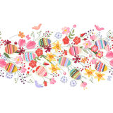 Seamless easter pattern brush with flowers and eggs Royalty Free Stock Image