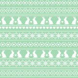 Seamless Easter pattern, card - Scandinavian sweater style. Green and white vector spring holiday background. Stock Photo
