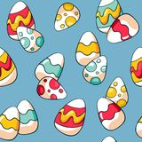 Seamless Easter pattern with colourful eggs on blue background. Hand drawn doodle Easter eggs. Cartoon eggs background. vector illustration
