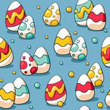 Seamless Easter pattern with colourful eggs on blue background. Easter eggs background for wrapping paper and fabric royalty free illustration