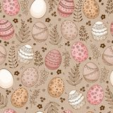 Seamless Easter pattern with doodle ornamental eggs Stock Photo