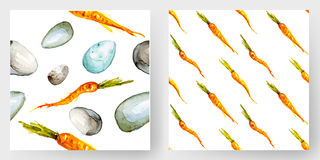 Seamless Easter pattern with eggs and carrots. Watercolor background. 100% vector Royalty Free Stock Photos