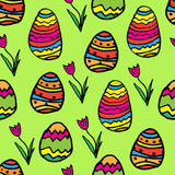 Seamless Easter pattern. With eggs and tulips Stock Images