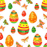 Seamless easter pattern with eggs on white background. Royalty Free Stock Image