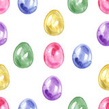 Seamless easter pattern with eggs on white background. Stock Images