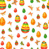 Seamless easter pattern with eggs on white background. Royalty Free Stock Photo