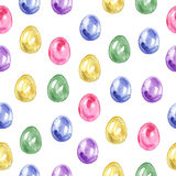 Seamless easter pattern with eggs on white background. Stock Photos