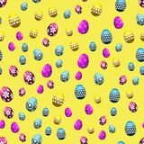 Seamless Easter pattern with eggs on yellow background. Vector. Seamless Easter pattern with eggs on yellow background. Vector Royalty Free Stock Images