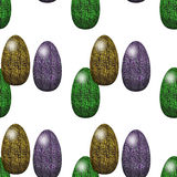 Seamless Easter pattern with green, brown and violet eggs Royalty Free Stock Photography