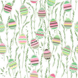 Seamless easter pattern with painted eggs. Royalty Free Stock Photo