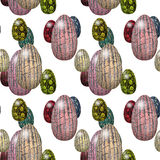 Seamless Easter pattern with pink, green, red and yellow leathery eggs Royalty Free Stock Photos