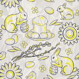 Seamless easter pattern on stylized background of crumpled white paper Royalty Free Stock Photography
