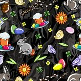 Seamless easter pattern on a stylized black gray background of sharp-angled figures Stock Photo