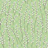 Seamless easter pattern with stylized willow branches. Royalty Free Stock Photo