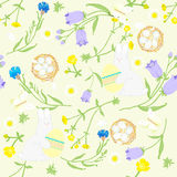 Seamless Easter wildflowers pattern, butterflies, rabbit with egg, nests. vector illustration Stock Photography