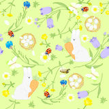Seamless Easter wildflowers pattern, butterflies, rabbit with egg, nests. vector illustration Royalty Free Stock Images