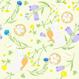Seamless Easter wildflowers pattern, butterflies, rabbits, nests. vector illustration Royalty Free Stock Photography
