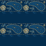 Seamless eastern pattern on blue Royalty Free Stock Images